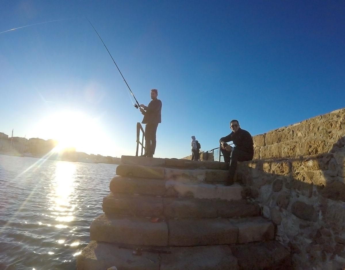 Arthur et Sam le 1er de l'an 2018 sur le port de La Canée, Chania, Crète
