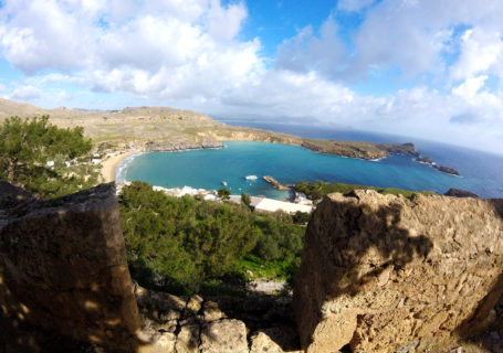 Cycling travel Europe, view from Lindos Acropolis, Rhodes island, Greece.