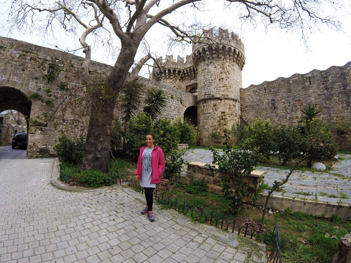 Bike trip, Yasmina in the old fortified town of Rhodes, Greece. Cycling Travel, Yasmina in Rhodes Old Town, Greece.