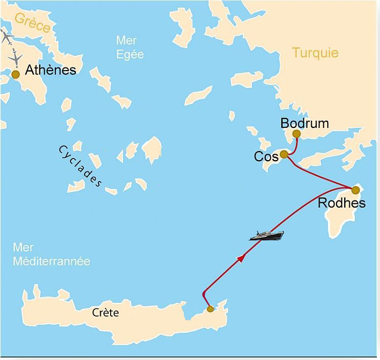 Bike trip to the Greek islands: Map of Crete to Rhodes, Cos and Bodrum by ferry boat. Cycling Europe in the Greek islands: a map from Crete to Rhodes, Cos and Bodrum by ferry boat.