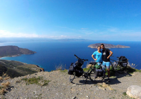Cycling Europe Greece, on the road towards Sitia, view on Tholos and Psira island, Crete, march 2018.