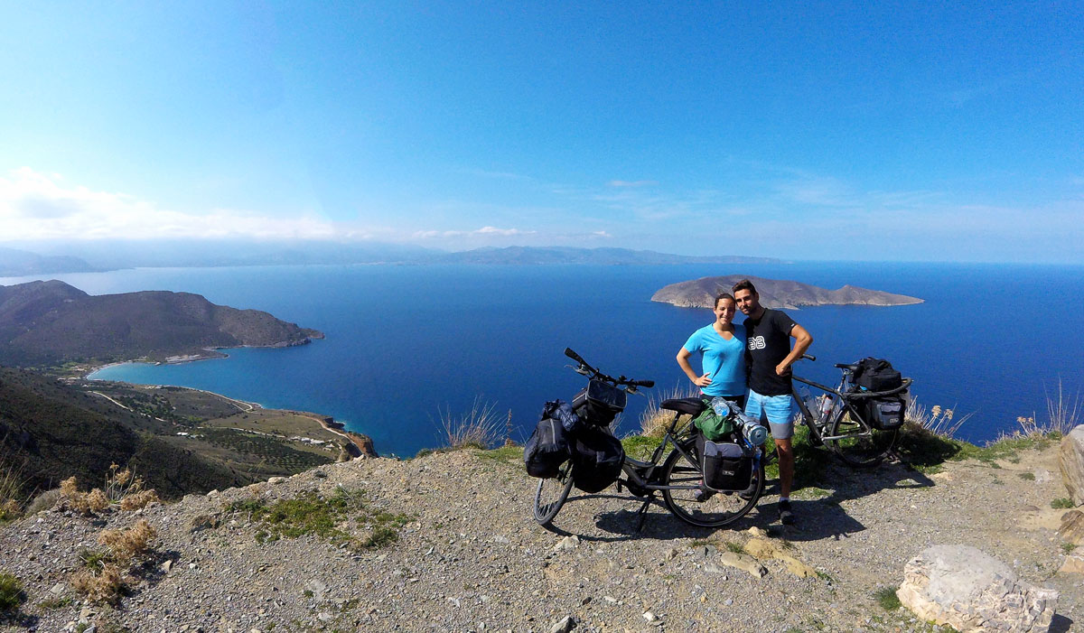 Bike trip, on the road to Sitia, view on Tholos and the island of Psira, Crete, March 2018.