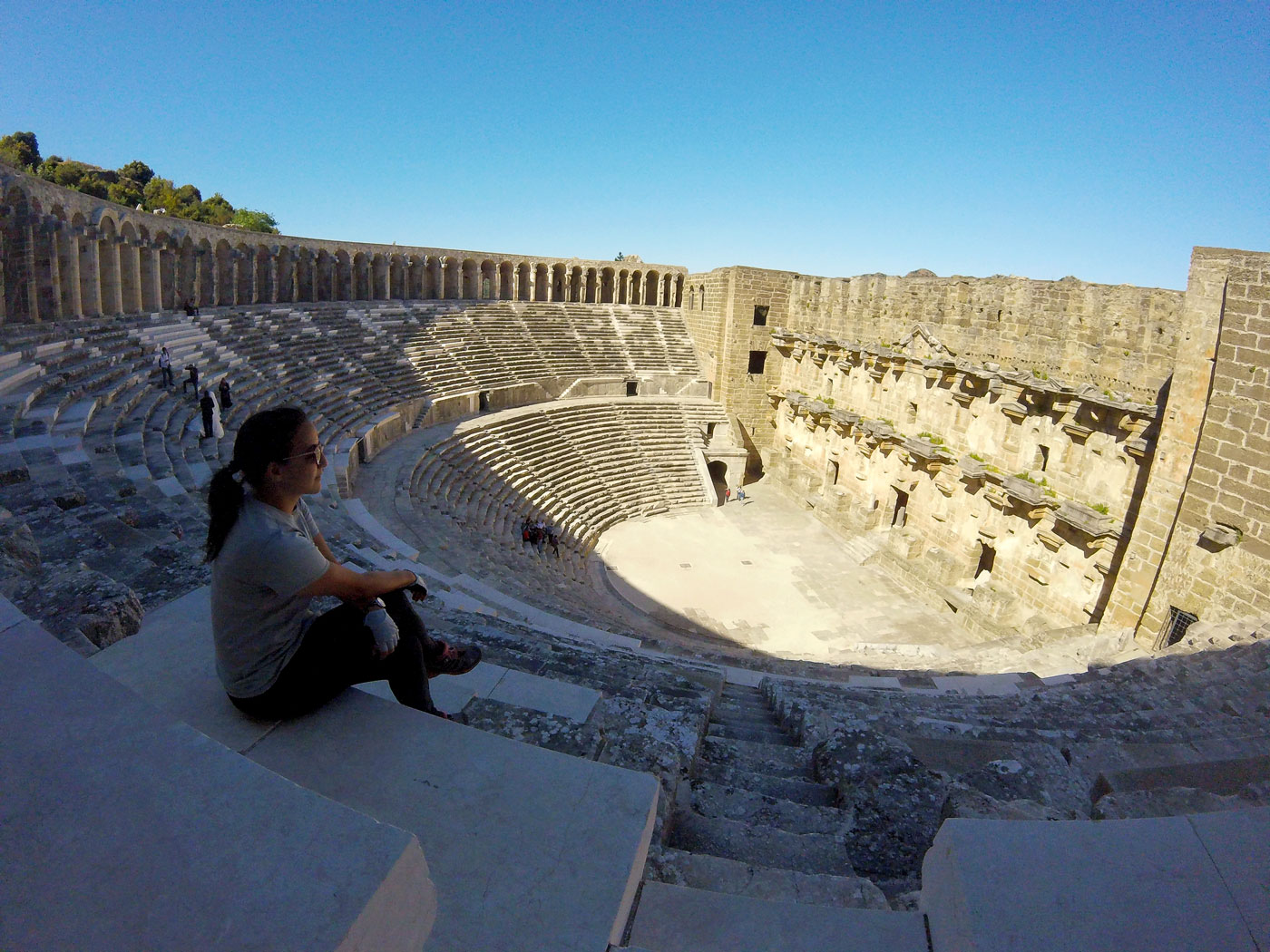 Turkey by bike, the Aspendos Roman Theater. Cycling Turquey, Aspendos theater.