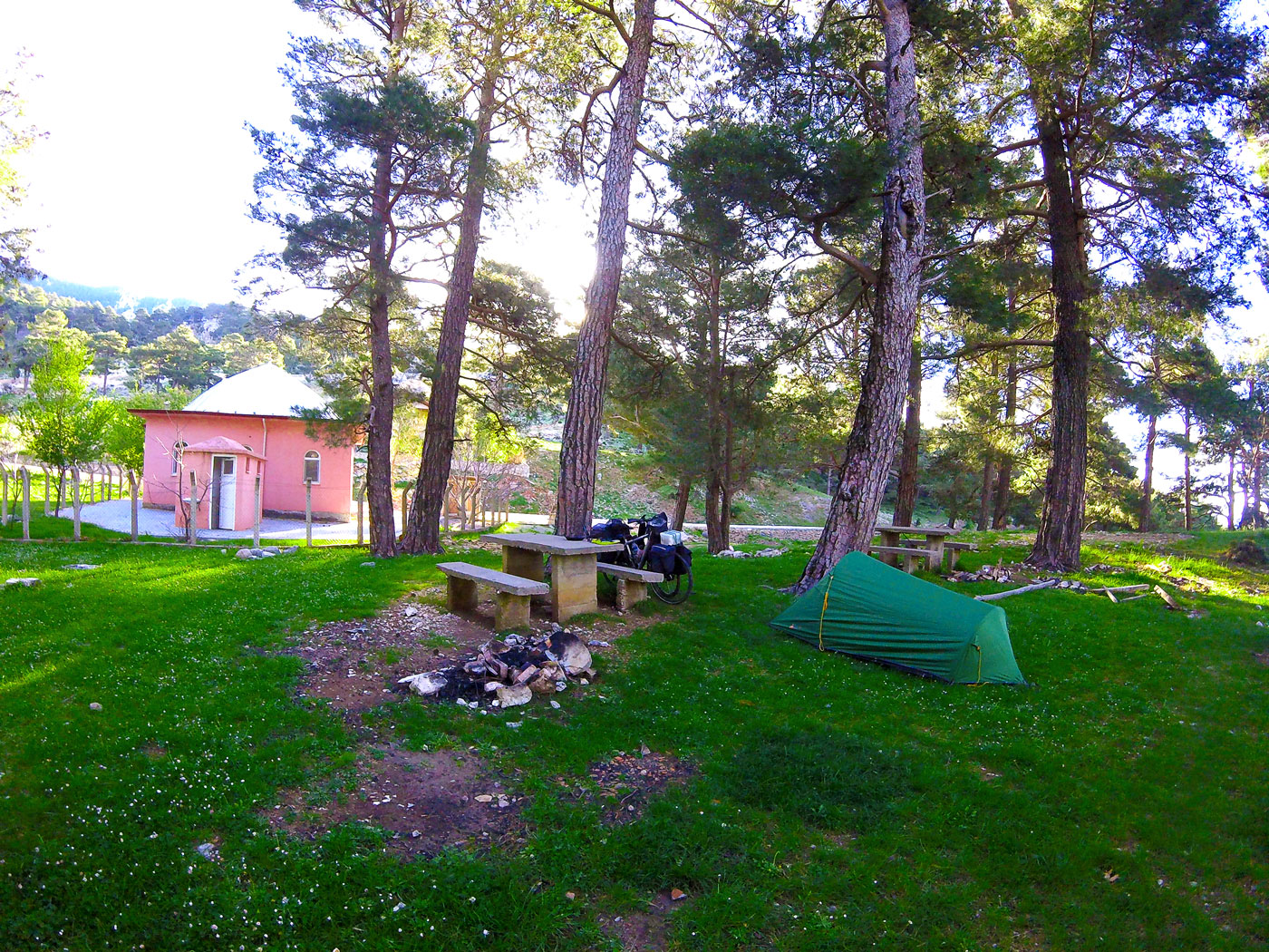 Turkey by bike, camping in the mountains behind a mosque. Cycling Turquey, bivouac in the mountains behind a mosque.