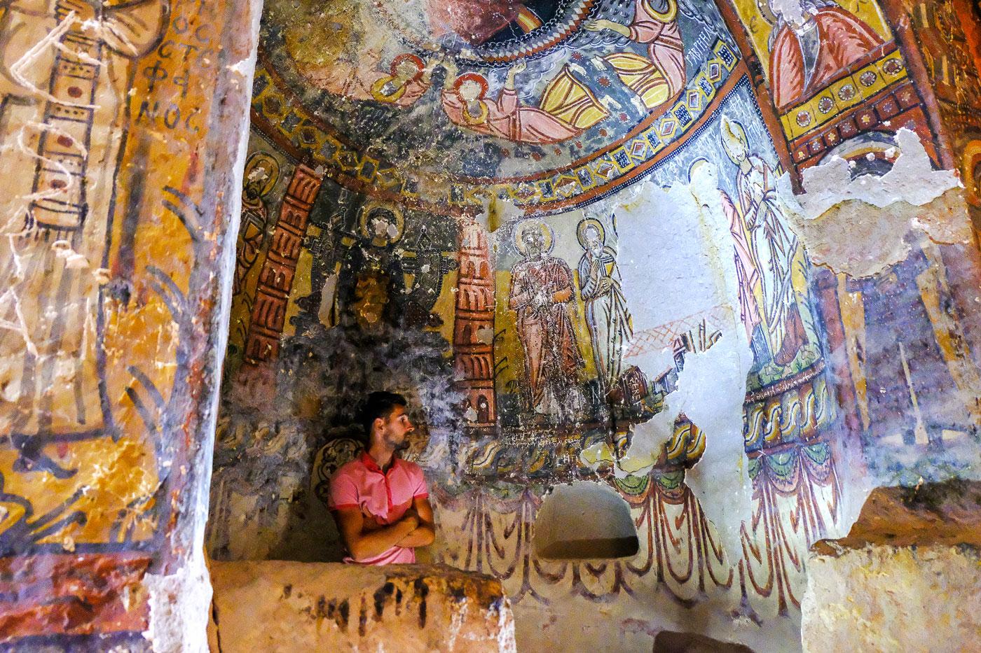 Turkey by bike, Arthur in a troglodyte church in the Ihlara Valley. Cycling Turquey, Arthur in a cave church at Ihlara valley.