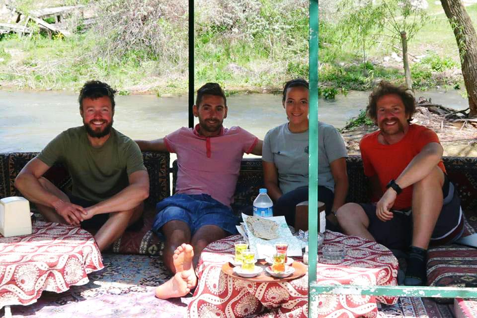 Cycling Turkey, tea break in the Ihlara Valley. Cycling Turquey, tea at Ihlara valley.
