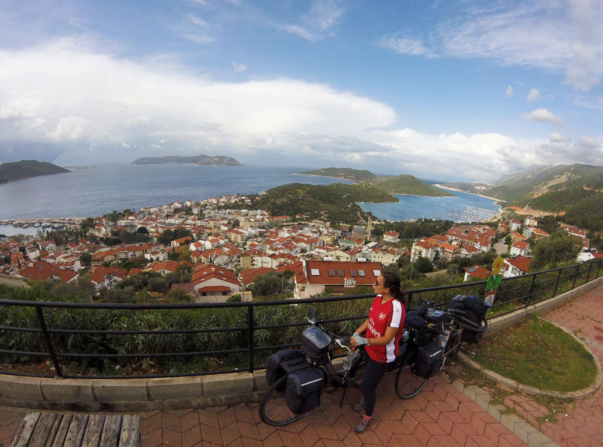 Turkey by bike, view on Kaş. Cycling Turkish, view of Kaş.