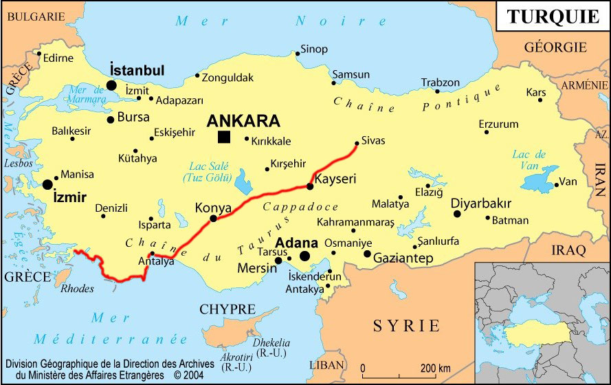 Turkey cycling, map of the bicycle route in Turkey. Cycling Turquey, map of Turquey cycling route.