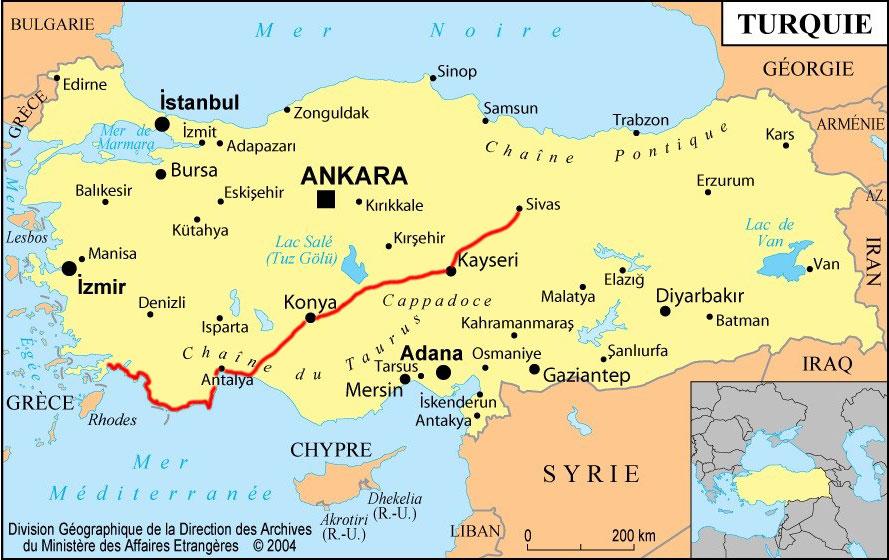 La Turquie à vélo, carte de l'itinéraire à vélo en Turquie. Cycling Turquey, map of Turquey cycling route.