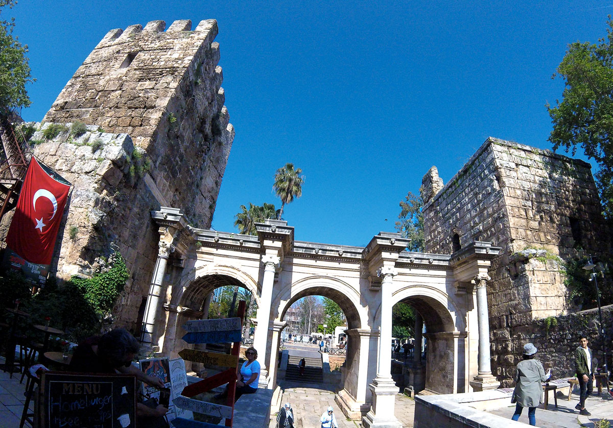 Turkey by bicycle, Porte of Hadrian Antalya. Turkish Cycling, Hadrian's Gate Antalya.