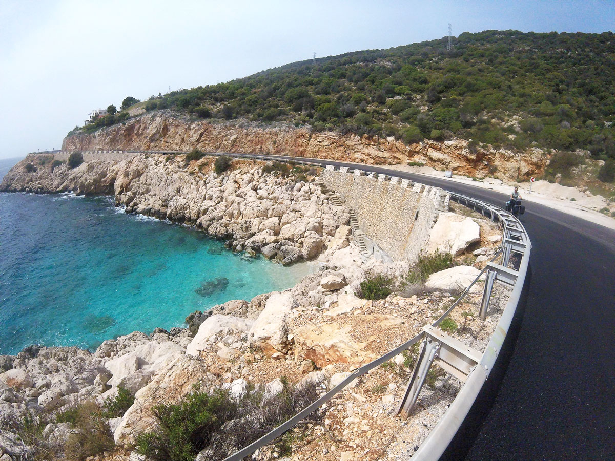 Turkey by bike, Seaside road along the Mediterranean coast. Cycling Turkish, road on the Mediterranean coast.
