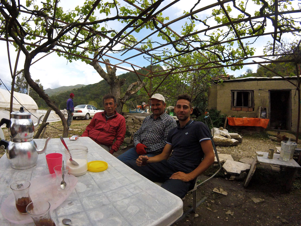 Turkey by bike, invite to drink tea in a village in a family. Cycling Turkish, invited to drink tea in a village at a family's house.