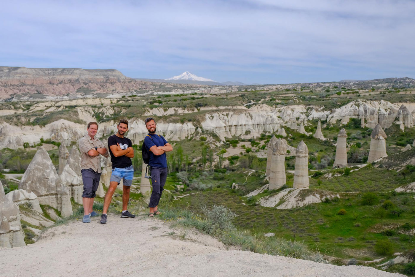 Turkey cycling, Arthur, Rémi and Alex in a valley in Cappadocia. Cycling Turkishy, Arthur, Rémi and Alex in a valley of Cappadocia.