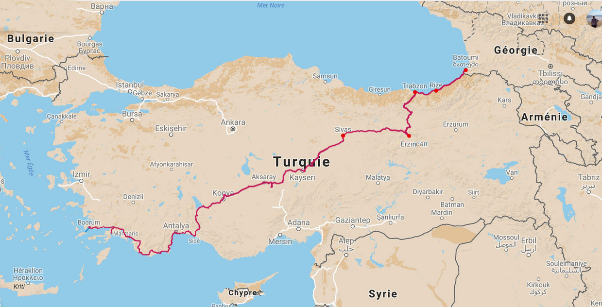 Itinéraire parcouru à vélo en Turquie, carte de la traversée de la Turquie à vélo. Itinerary traveled by bike in Turkey, map of Turkey by bike.