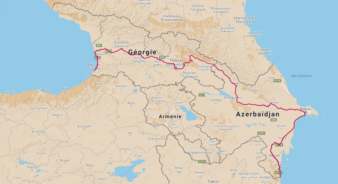 Cycling, Azerbaijan Cycling, crossing the Caucasus region by bike, map of our itinerary. Cycling travel, biketouring, cycling Caucasus, cycling Azerbaijan, map of our itinerary.