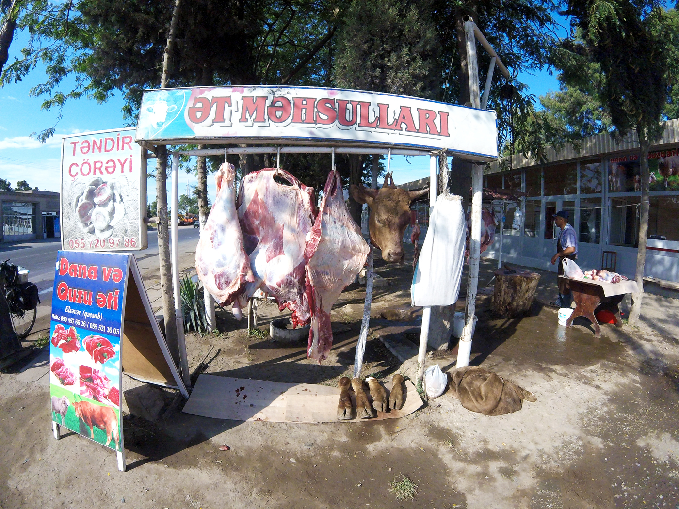 Cycling, Azerbaijan Cycling, crossing the Caucasus region by bicycle, butchering on the side of the road. Cycling travel, biketouring, cycling Caucasus, cycling Azerbaijan, butcher on the side of the road.