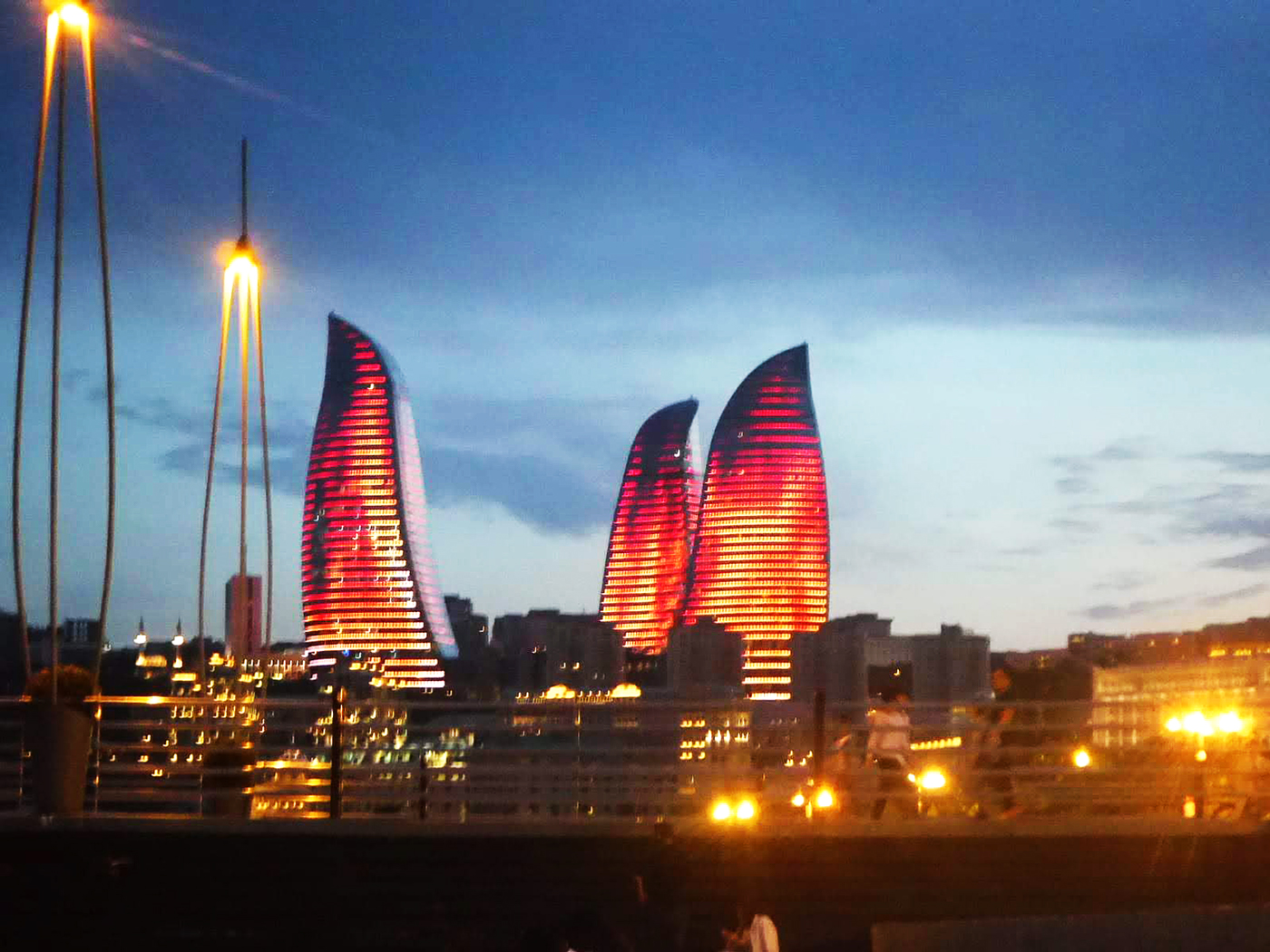 Cycling, Azerbaijan Cycling, crossing the Caucasus region by bicycle, flame Towers in Baku. Cycling travel, biketouring, cycling Caucasus, flame Towers in Baku.