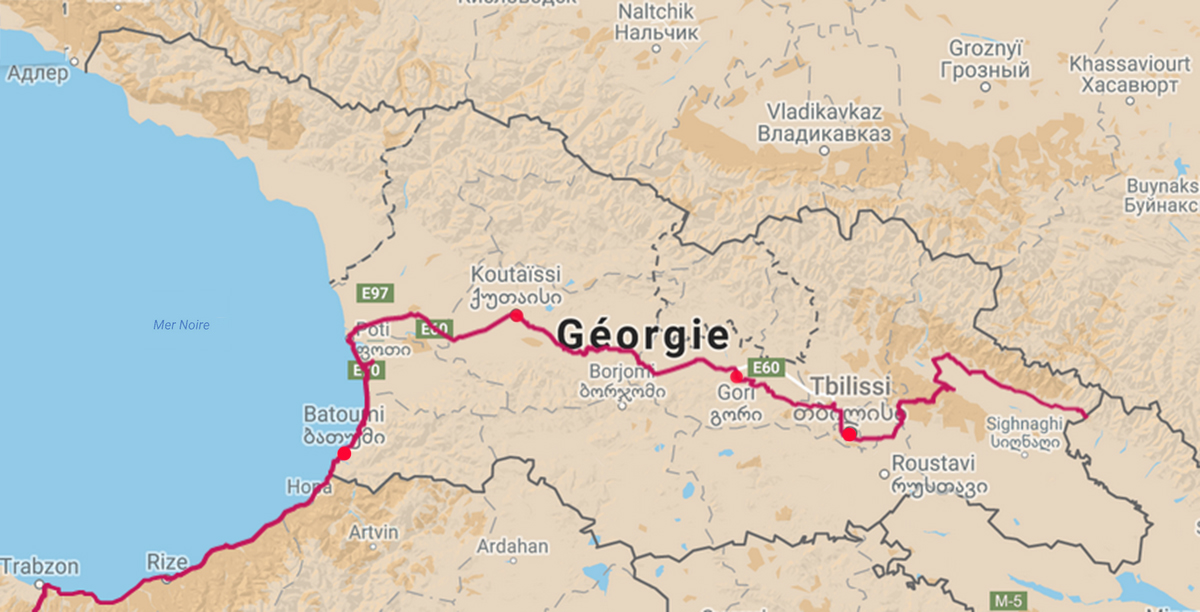 Bike trip, Georgia Cycling, map of the itinerary. Travel by bike, cycling Georgia, map of cycling itinerary.