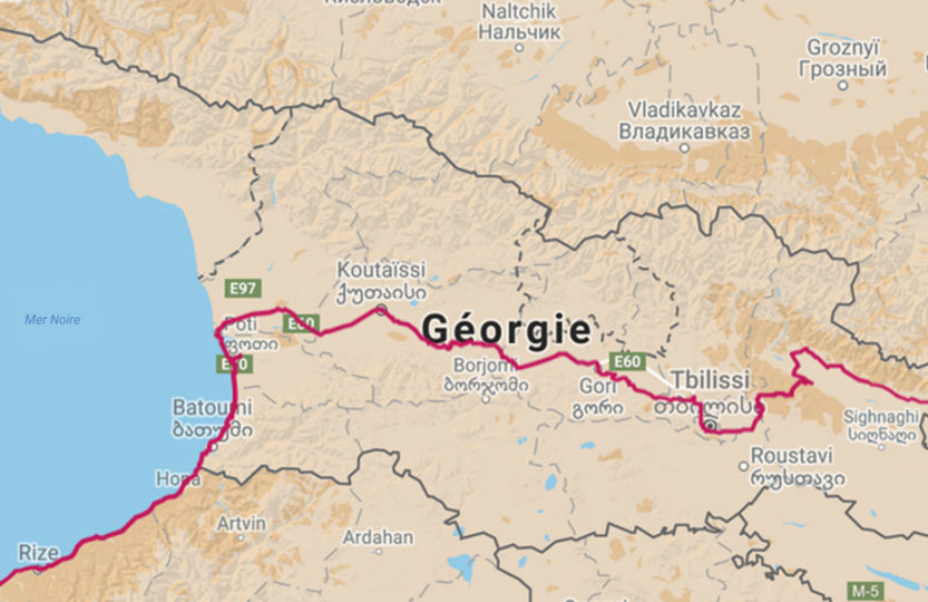 Voyage à vélo, la Géorgie à vélo, carte de l'itinéraire. Travel by bike, cycling Georgia, map of cycling itinerary.