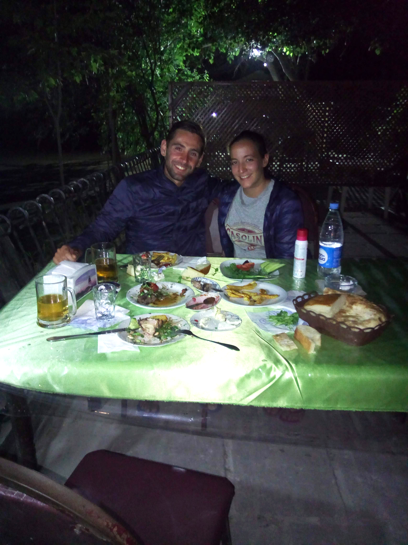 Cycling, Azerbaijan Cycling, crossing the Caucasus region by bicycle, open air restaurant in Salyan for Arthur's 30th birthday. Cycling travel, biketouring, cycling Caucasus, cycling Azerbaijan, outdoor restaurant in Salyan for Arthur 30th birthday.