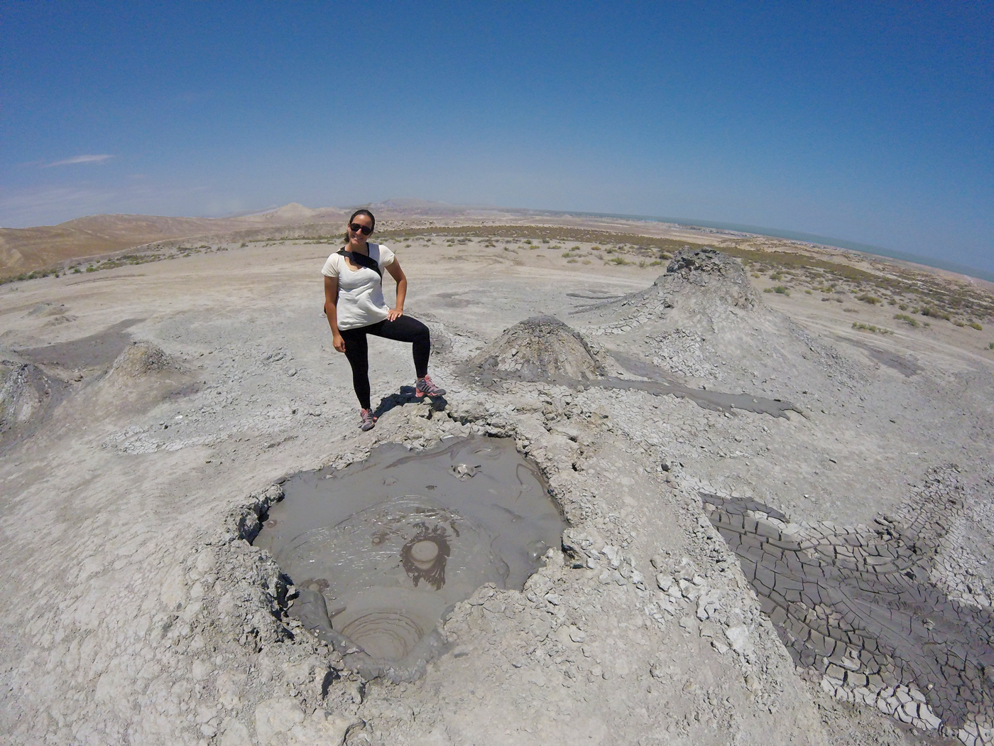 Cycling, Azerbaijan Cycling, crossing the Caucasus region by bicycle, Gobustan mud volcano. Cycling travel, biketouring, cycling Caucasus, cycling Azerbaijan, Gobustan Mud Volcano.