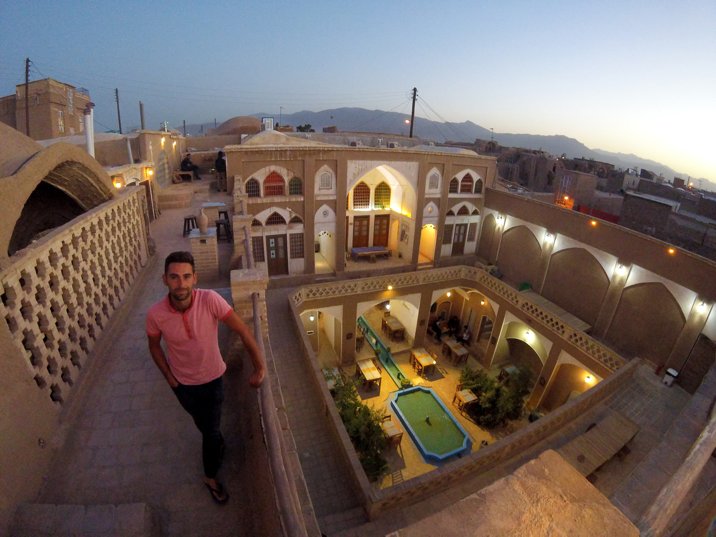 Bike trip, cross Iran by bike, view from the roof of Cafe Bam in Kashan. Cycling travel, biketouring, cycling Iran, view from Bam Café's rooftop in Kashan.
