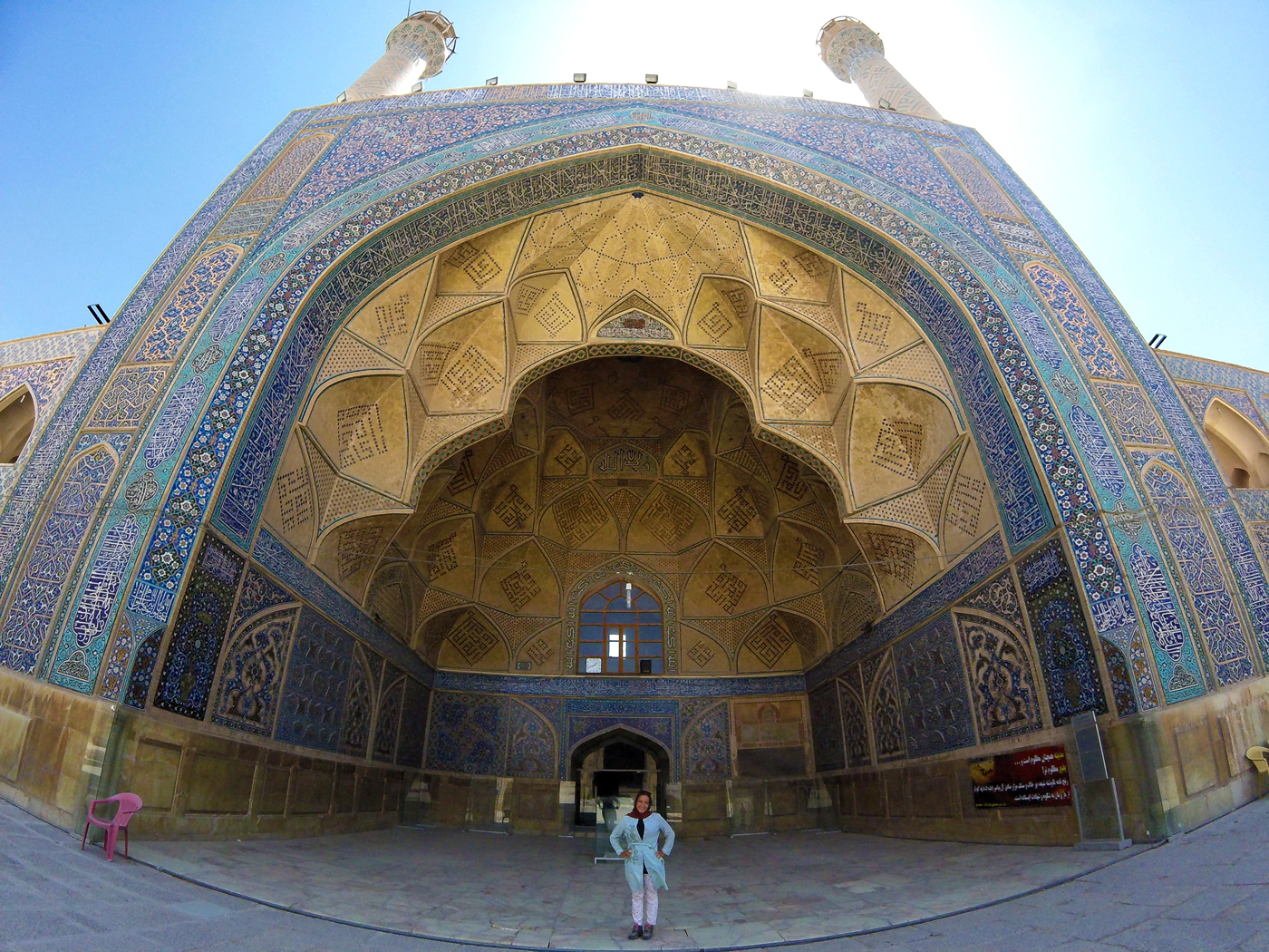 Bike trip, cross Iran by bike, Jameh Mosque or Great Mosque of Isfahan. Cycling travel, biketouring, cycling Iran, Jameh Mosque of Isfahan.