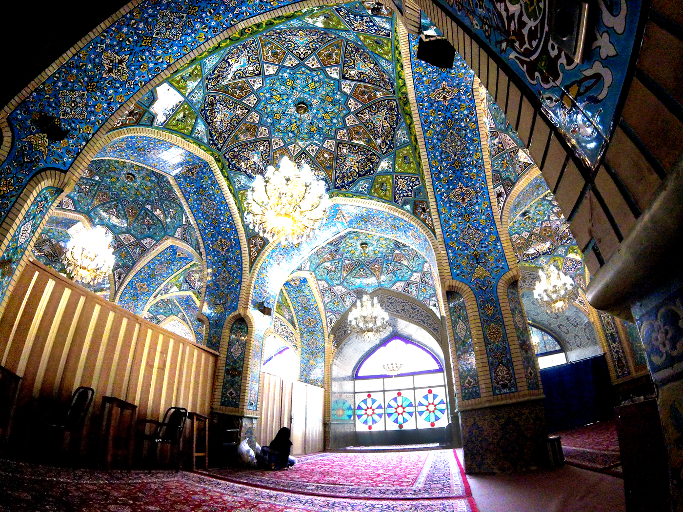 Bike trip, cross Iran by bike, inside a mosque in Tehran. Cycling travel, biketouring, cycling Iran, interior of a mosque in Tehran.