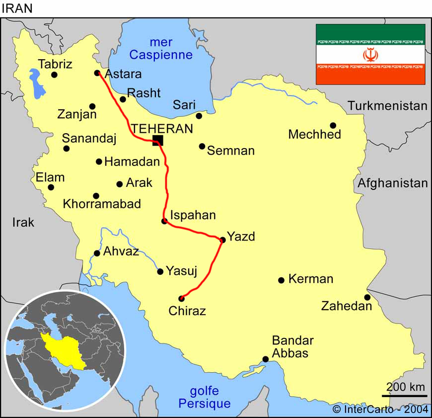 Travel by bike, cross Iran by bike, map of the itinerary traveled by bike in Iran. Cycling travel, biketouring, cycling Iran, map of the route traveled by bicycle in Iran.