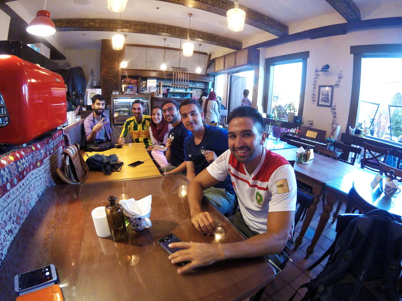 Bike trip, cross Iran by bike, at Café Joulep in Shiraz to see the final of the World Cup football 2018 France-Croatia. Cycling travel, biketouring, cycling Iran, at Joulep Cafe in Shiraz to see the final of the Football World Cup 2018 France-Croatia.