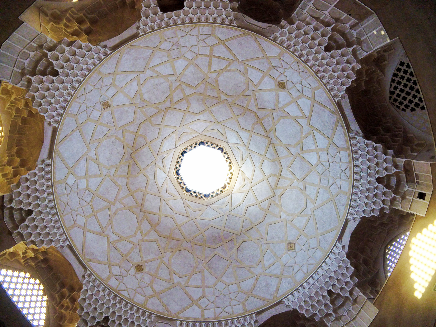 Bike trip, cross Iran by bike, beautiful ceiling in the Bazaar of the city of Yazd. Cycling travel, biketouring, cycling Iran, beautiful Bazaar ceiling in the old part of the Yazd city.
